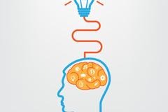 创意大脑和灯泡矢量素材