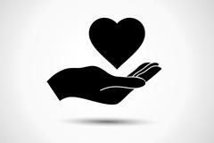 单手托爱心标志设计矢量素材