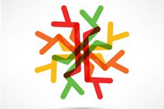 创意彩色雪花纹矢量素材