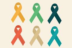 6款彩色丝带艾滋病标志设计矢量素材