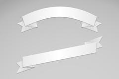3款白色丝带条幅矢量素材