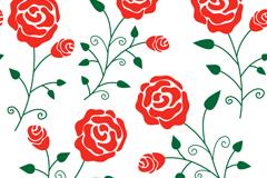 玫瑰花枝无缝背景矢量素材