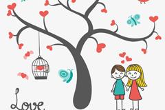 卡通爱心树与情侣矢量素材