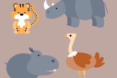 4款卡通野生动物矢量素材