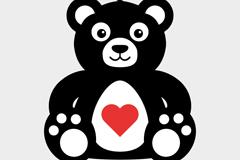 卡通爱心泰迪熊矢量素材