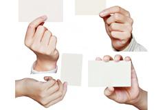 4款手持空白名片模板图片素材
