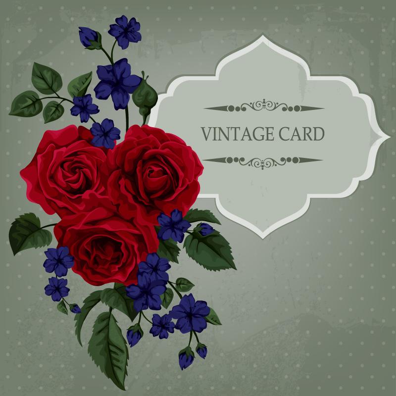 红玫瑰花束装饰卡片矢量素材