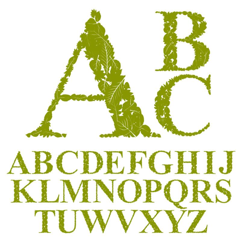 素材教学矢量v素材矢量字母_树叶字体3d工具室内设计绿色图片