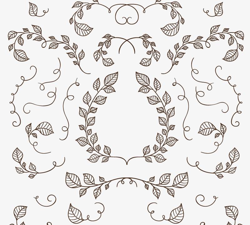 25款手绘树枝与树叶矢量素材