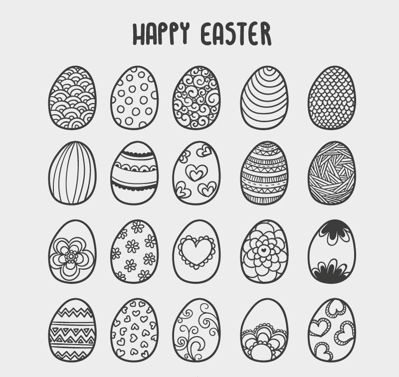 20款手绘花纹彩蛋矢量素材