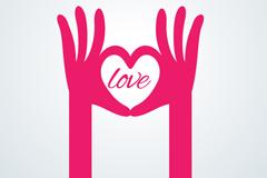 玫红色爱心手势设计矢量素材