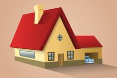 卡通立体红色屋顶房屋矢量素材