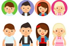 8款卡通人物与头像设计矢量素材