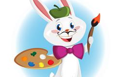 绘画的卡通兔子矢量素材