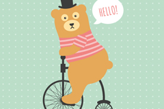 骑大小轮自行车的熊矢量素材