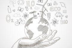 手绘单手托举地球环保插画矢量素材