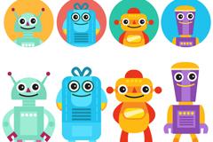8款卡通机器人与头像矢量素材