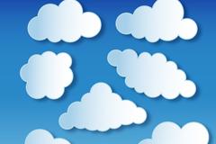 7款白色纸云朵矢量素材