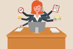 繁忙的办公室女职员矢量素材