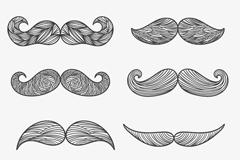 8款花纹胡子设计矢量素材