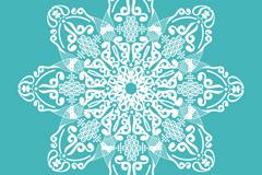 精美绿底白色花纹矢量素材