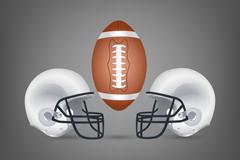 美式橄榄球用球与头盔矢量素材