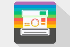 彩色宝丽来相机图标矢量素材