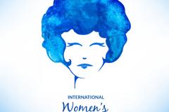 蓝色水彩女子头像矢量素材