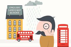 创意英语学校和男子插画矢量素材