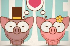 卡通情人节微笑情侣猪矢量素材