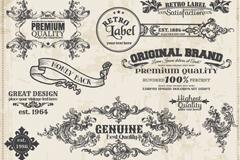 15款复古花纹标签矢量素材