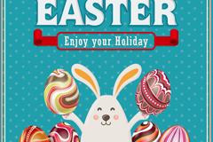 复活节彩蛋与兔子矢量素材