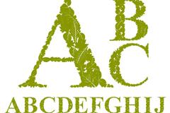 绿色树叶字母设计矢量素材