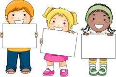 3个举空白纸板的孩子矢量素材