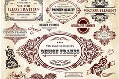 15款古典花纹标签矢量素材