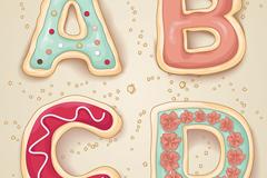 清新饼干字母设计矢量素材