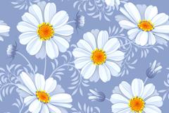 白色波斯菊无缝背景矢量素材