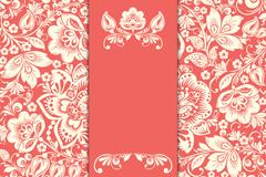 白色花卉红底卡片矢量素材