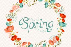 春季鲜花花环矢量素材