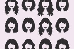 12款女子发型设计矢量素材