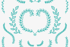 16款绿色手绘树枝矢量素材