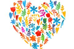 水彩树叶组合爱心矢量图