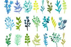 30款水彩树枝与花朵矢量图