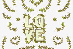 手绘树枝装饰爱的艺术字矢量图