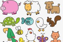 16款卡通动物设计矢量图