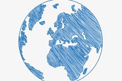 蓝色手绘地球矢量素材