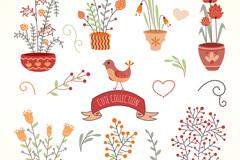 8款可爱花朵盆栽矢量素材
