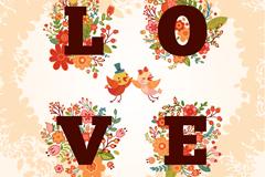 清新花卉装饰爱的艺术字矢量图