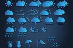 25款精美蓝色天气图标矢量图