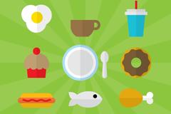 9款扁平化食物图标矢量素材